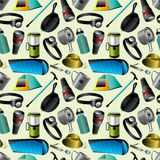 Camping seamless pattern Royalty Free Stock Photo