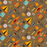 Camping seamless pattern. Creative camping seamless pattern on a orange background. Camping equipment and useful tools for holidays Stock Image