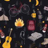 Camping seamless pattern. Forest night vector. Camping seamless pattern with tourism symbols: backpack, campfire, bike, sneakers, guitar and tent. Forest floral Royalty Free Stock Photo