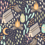 Camping Seamless Pattern Royalty Free Stock Image