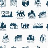 Camping seamless pattern, mountains coniferous forest and wooden logo. engraved hand drawn in old vintage sketch. emblem Stock Image