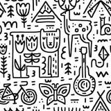 Camping Seamless Pattern stock illustration