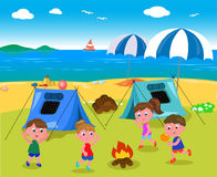 Camping at the seaside vector. Boys and girl with tents at the seaside near the beach, vector illustration stock illustration