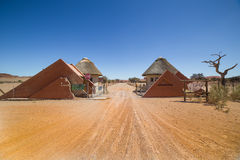Camping Sesriem entrance, Namibia. SESRIEM, NAMIBIA - SEPTEMBER 04, 2015:  Camping Sesriem entrance, near Sossusvlei, in the Namib-Naukluft National Park of Stock Photos