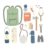 Camping set. Set of different items for camping, editable vector Royalty Free Stock Photography