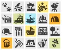 Camping set black icons. signs and symbols Royalty Free Stock Image