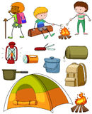 Camping set with campers and tent Royalty Free Stock Photography