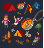 Camping set flat Stock Images