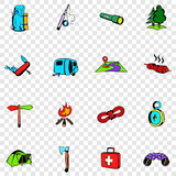 Camping set icons Stock Photos