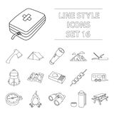 Camping set icons in outline style. Big collection of camping vector symbol stock illustration. Camping set icons in outline style. Big collection of camping Royalty Free Stock Photography