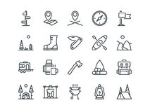 Camping. Set of outline vector icons. Includes such as Tent, Canoe, Compass and other. Editable Stroke. 48x48 Pixel. Perfect Royalty Free Stock Image