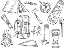 Camping set - sketch Stock Image