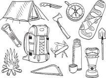 Camping set - sketch Stock Image