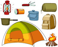 Camping set with tent and equipments. Illustration Stock Photography