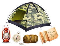 Camping set with tent and other objects Stock Photography