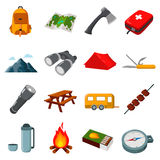 Camping set vector icons. Collection of tourist, camp, travel icons. Stock Photography