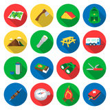 Camping set vector icons. Collection of tourist, camp, travel icons. Stock Photo