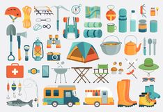 Camping set. Vector illustration. Stock Photography