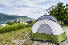 Camping Setup with Tent Outdoors Royalty Free Stock Photo