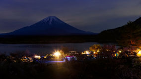 Camping at Shoji lake, Japan. Camping at Shoji lake with Mt. Fuji view at night, Japan stock photos