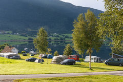 Camping on the shore of fjord, Norway Stock Photography