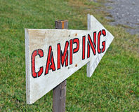 Camping Sign. Points to the campground Stock Photography