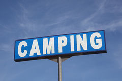 Camping sign. Against a blue sky royalty free stock photos