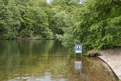 Camping Sign in the River Royalty Free Stock Photos