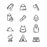 Camping sign set. tourism and travel icon Royalty Free Stock Images