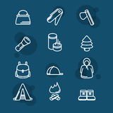 Camping sign set. tourism and travel icon Royalty Free Stock Photo