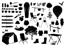 Camping silhouettes Royalty Free Stock Photo