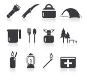 Camping simple icon set. For use on websites, apps, banners, prints Royalty Free Stock Photo