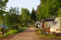 Camping site. Mobile homes on camping site in Germany royalty free stock photography