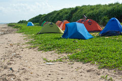Camping site. For trekkers on beach of weizhou island Stock Images