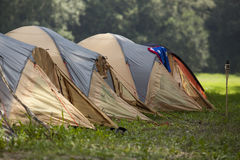 Camping site. With the tents in the nature Royalty Free Stock Image