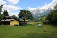 Camping site in the Alps Stock Images