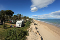 Camping site on the beach, Spain Stock Images