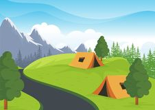 Camping Site with beautiful nature landscape. Tents are on nature landscape, green grass, flower, trees and mountain with blue sky background Royalty Free Stock Images
