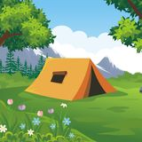 Camping Site with beautiful nature landscape. Tents are on nature landscape, green grass, flower, trees and mountain with blue sky background Stock Image