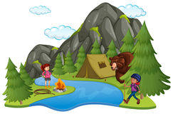 Camping site with campers and big bear Stock Image