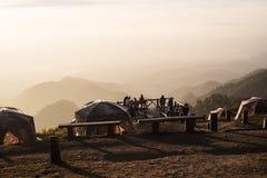 Camping site in Doi Ang Khang Chiang Mai Thailand watching sunri Royalty Free Stock Images