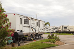 Camping Site at the Galveston Bay in Texas. GALVESTON, USA - APR 12: Trailer and Recreational Vehicles at a camping site at the Galveston Bay. April 12, 2016 in Royalty Free Stock Image