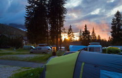 Camping site in Italian dolomites. Royalty Free Stock Image