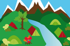 Camping site in a mountain landscape. With tents and river and campfire Stock Images