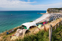 Camping site on the North sea. Camping on the North sea coastline. Upper Normandy, France stock photo