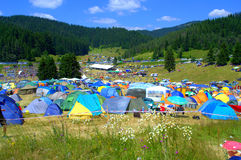 Camping site Rozhen Fair ,Bulgaria Royalty Free Stock Photo