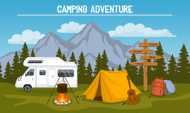 Camping Site Scene. Campsite with  camping tent, rocky mountains, pine forest, guitar, pot, campfire, hiking backpacks , directional sign, caravan . outdoor Stock Photos