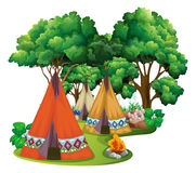 Camping site with teepees and campfire stock illustration