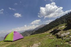 Camping Site and tent near Tungnath Base, Chopta, Garhwal, Uttarakhand, India royalty free stock photos