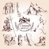 Camping sketch set Royalty Free Stock Image